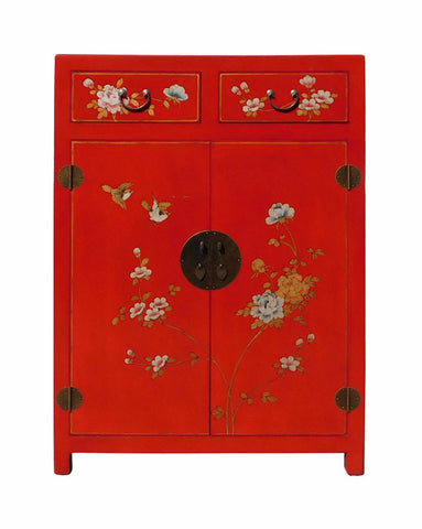 Chinese Red Vinyl Leather Side Table Shoes Cabinet cs1574S