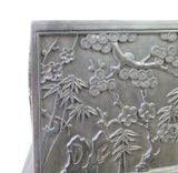 Chinese Dark Rosewood 4 Season Flowers Carving Accent Storage Box cs1584S