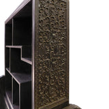 Chinese Dark Rosewood Flowers Carving Accent Display Curio Rack cs1585S