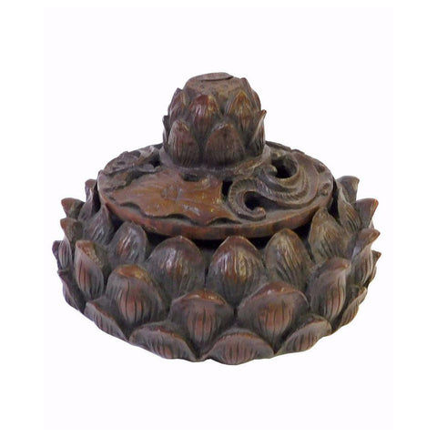 Chinese Handcarved Bamboo Lotus Petal Container