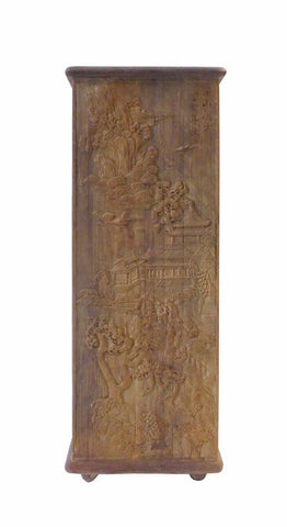 Chinese Square Relief Carving Square Bamboo Brush Holder Accent cs1601S