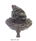 Chinese Rustic Metal Toad Relief Motif Round Incense Ding cs1609S