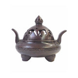 Chinese Rustic Metal Simple Round with Ears Incense Ding