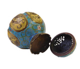 Chinese Vintage Metal Blue Yellow Enamel Cloisonne Incense Burner Figure cs1624S