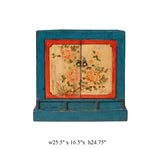Chinese Bright Blue Orange Flower Small Table Cabinet cs1628S