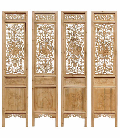 Chinese Eight Immortal Carving Wood Panel Floor Screen cs1631S
