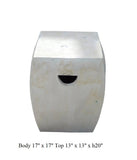 Chinese Off White Square Clay Ceramic Garden Stool cs1634S