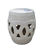 Chinese White Coin Pattern Round Clay Ceramic Garden Stool cs1638S