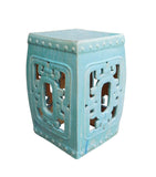 Chinese Turquoise Blue Square Ru Yi Pattern Clay Ceramic Garden Stool cs1644S