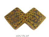 Chinese Yellow Lacquer Double Rhombus Scenery Painting Box cs1648S