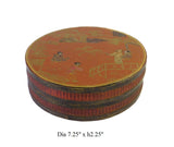 Chinese Brown Lacquer Scenery Painting Round Box