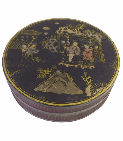 Chinese Black Lacquer Scenery Painting Round Box cs1650S