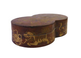 Chinese Brown Lacquer Double Round Scenery Painting Box cs1651S