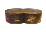 Chinese Brown Lacquer Double Round Scenery Painting Box cs1652S