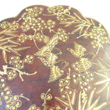 Chinese Brown Lacquer Flower Shape Scenery Painting Box cs1654S