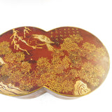 Chinese Brown Lacquer Double Round Scenery Painting Box cs1656S