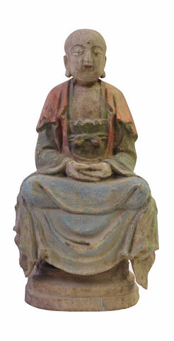 Chinese Rustic Distressed Finish Wood Lohon statue