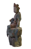 Chinese Rustic Wood Sitting Kwan Yin Statue cs1683S