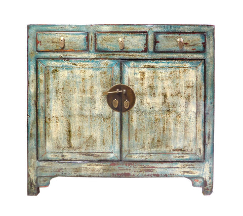 Chinese Distressed Blue Side Tall Credenza Table Cabinet Cs1695S