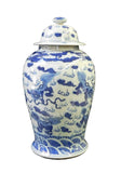 blue and white lotus foo dog general jar