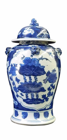 Chinese Blue & White Flower Graphic Porcelain General Jar