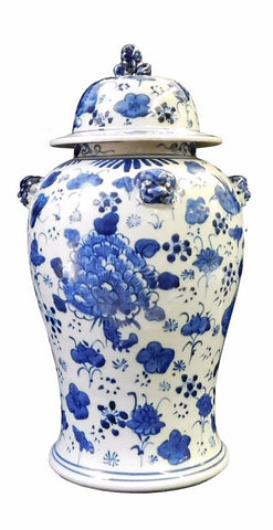 Chinese Blue & White Flowers Graphic Porcelain General Jar cs1708S