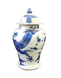 Chinese Blue & White Dragon Graphic Porcelain General Jar