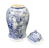 Chinese Blue & White Phoenix Bird Graphic Porcelain General Jar cs1713S