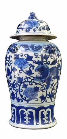 Chinese Blue & White Foo Dogs Graphic Porcelain General Jar cs1714S