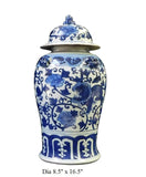 Chinese Blue & White Foo Dogs Graphic Porcelain General Jar