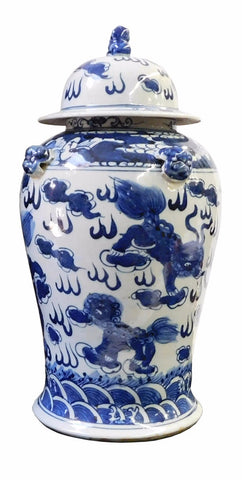 Chinese Blue & White Foo Dogs Graphic Porcelain General Jar cs1715S