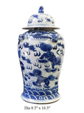 blue and white temple jar