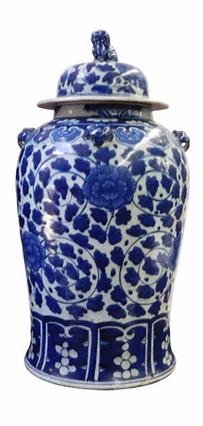 Chinese Blue & White Flowers Porcelain General Jar cs1716S