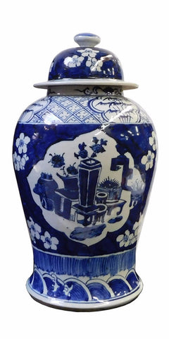 Chinese Blue & White Flowers Vases Porcelain General Jar cs1718S