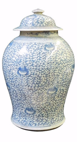 Chinese Blue & White Light Scroll Porcelain General Jar