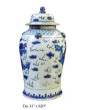 Chinese Blue & White Phoenix Dragon Porcelain General Jar cs1723-2S