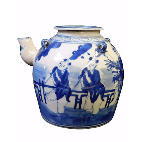 Chinese Blue & White Porcelain Kirin Teapot Display cs1734S