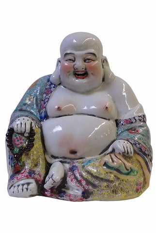 Chinese Porcelain Canton Color Happy Buddha Statue cs1744S