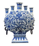 Chinese Blue & White Porcelain 5 Mouths Dragon Vase cs1747S