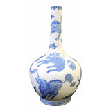 blue white kirin painting vase