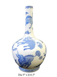 Chinese Blue White Porcelain Kirin Tall Neck Vase cs1750-2S