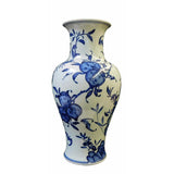 blue white vase with longevity painting