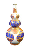 Chinese White Golden Blue Graphic Gourd Shape Vase cs1753S