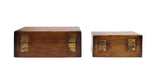 Chinese Oriental 2 Pieces Wood Rectangular Box Set cs1783S