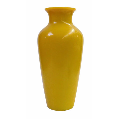 yellow vase - glass  vase - accent vase