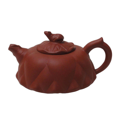 Chinese Handmade Yixing Zisha , Purple Sand Clay Teapot With Frog On Lotus Leaf Cover