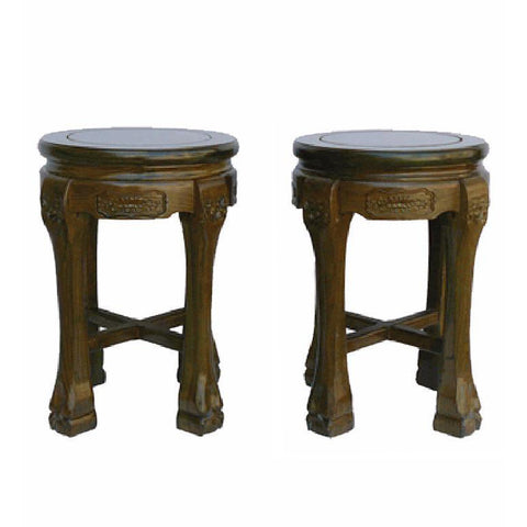 pair round solid wood stool
