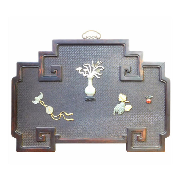 Chinese Rosewood Stone Graphic Inlay Wall Art Plaque