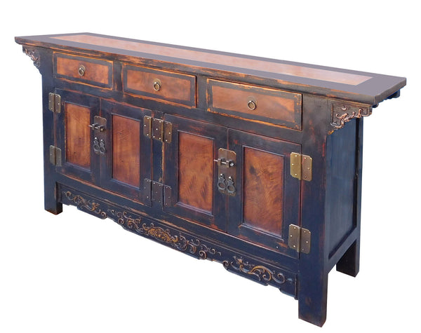 Chinese Black Brown Tone Console Sideboard Tv Cabinet