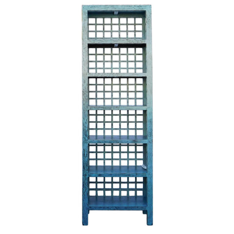 tall blue narrow display cabinet